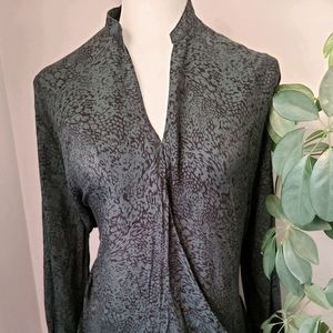 Knot Sisters crossover high low green blouse